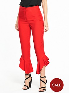 miss-selfridge-angled-ruffle-hem-trouser-red
