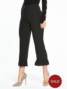 miss-selfridge-woven-frill-hem-trouser-black