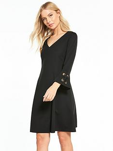 wallis-eyelet-flute-sleeve-dress-black