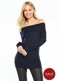 wallis-bardot-knitted-jumper-navy