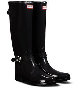7f3ae0c62 Hunter Refined Back Adjustable Tall Gloss Welly - Black |  littlewoodsireland.ie