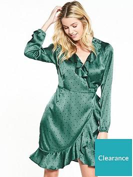 vero-moda-henna-satin-dot-wrap-long-sleeve-dress-green