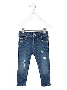 6c4ab02c3 River Island Mini Mini boys distressed Sid skinny jeans - blue