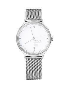 mondaine-mondainehelvetica-no1-light-ladies-watch-38mm-with-date-stainless-steel-case-white-dial-stainless-steel-mesh-bracelet