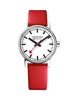 mondaine-evo2-35mm-stainless-steel-case-white-dial-red-leather-strap-ladies-watch