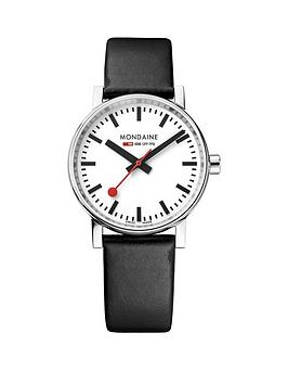 mondaine-evo2nbsp35mm-stainless-steel-case-white-dial-black-leather-strap-unisex-watch