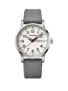 wenger-attitude-heritage-day-date-cream-dialnbsp42mm-stainless-steel-case-and-grey-nylon-strap-mensnbspwatch