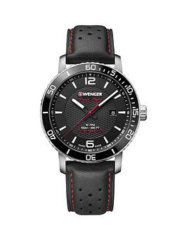wenger-roadster-black-night-black-dialnbsp45mmnbspcase-and-black-racing-leather-strap-mensnbspwatch