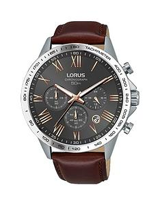 lorus-lorus-mens-grey-chronograph-brown-leather-strap-watch