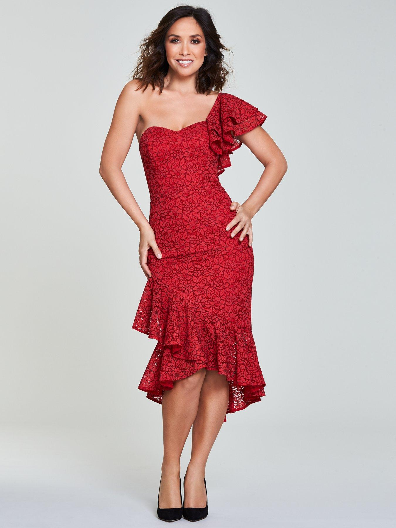 Myleene Klass One Shoulder Wrap Lace Pencil Dress - Red