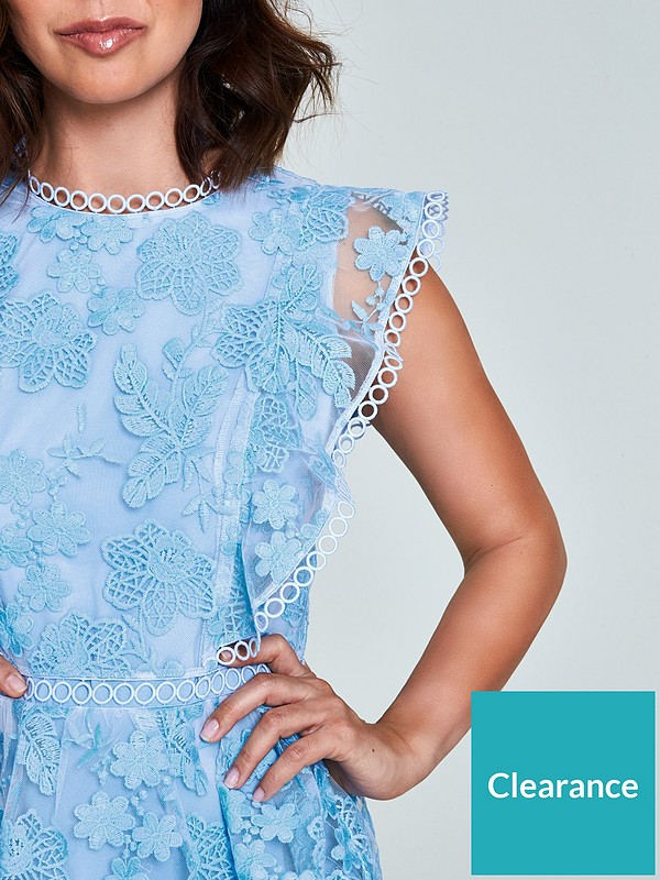Lace Tiered Dress Blue