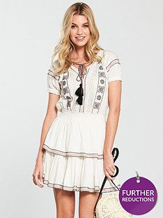 v-by-very-embroidered-tiered-skater-dress-ivory