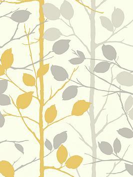 arthouse-woodland-grey-yellow-wallpaper