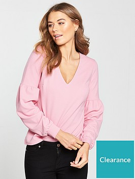 v-by-very-balloon-sleeve-crepe-top-pink