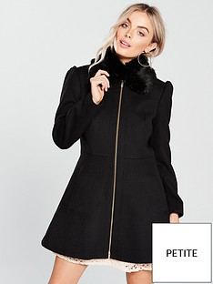v-by-very-petite-zip-front-skater-coat-blacknbsp
