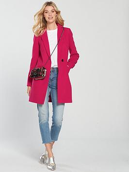 Outlet Genuine Fast Express Coat Single  Breasted Slim Very by Pink Fit V Pictures Cheap Online FBmbZt