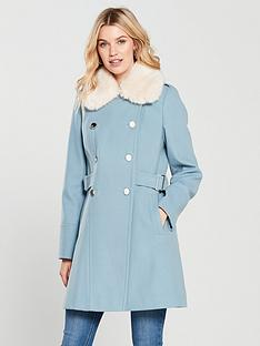 v-by-very-faux-fur-trim-double-breasted-coat-blue