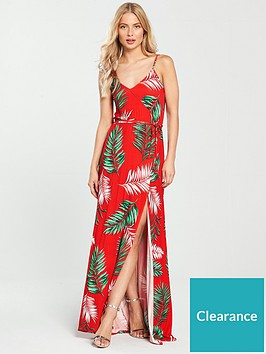 f9a84e0a7a7 V by Very Wrap Split Front Jersey Maxi Dress - Red Floral ...