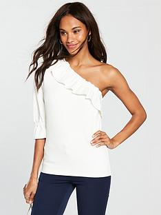 v-by-very-one-sleeve-frill-top-ivory