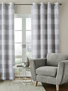 catherine-lansfield-bold-check-lined-eyelet-curtains