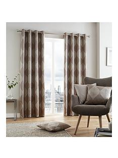Catherine Lansfield Metallic Leaf Lined Eyelet Curtains
