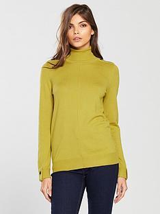 wallis-button-shoulder-roll-neck-knitted-jumper