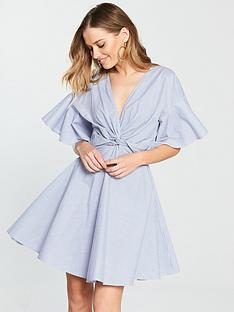 v-by-very-knot-front-cotton-dress-stripe