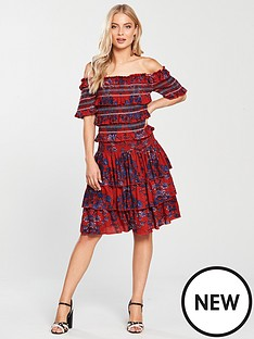 v-by-very-ruffle-bardot-dress-print