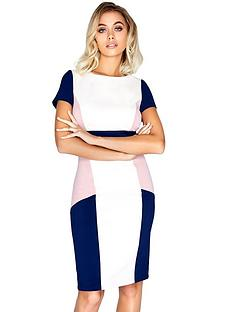 paper-dolls-short-sleeve-colour-block-midi-dress