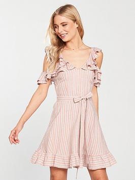 v-by-very-cold-shoulder-tie-waist-linen-dress-stripe