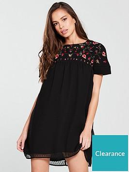 v-by-very-embroidered-dobby-dress-black