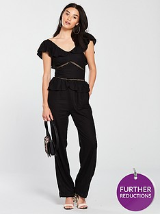 5f58e6727603 V by Very Frill Detail Linen Jumpsuit - Black