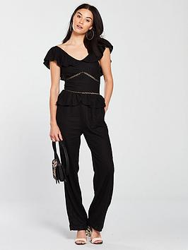 Frill by Detail Black V Linen Very Jumpsuit  Official Cheap Price Store Discount Footlocker Pictures 1lqlupeDVQ