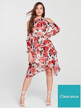 v-by-very-cold-shoulder-hank-hem-dress-pink-print