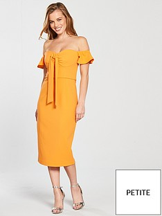 v-by-very-petite-bow-front-bodycon-dress-yellow