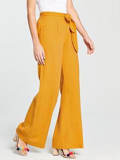 v-by-very-wide-leg-linen-trouser-mustard