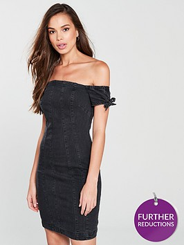 v-by-very-frill-shoulder-denim-dress-black