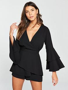 river-island-ruffle-playsuit--black