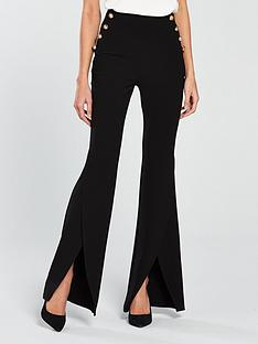 v-by-very-split-flare-button-side-trouser-black