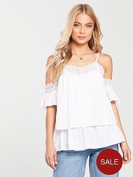 35910289c346e8 V by Very Crochet Trim Cold Shoulder Top - White