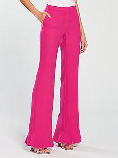 v-by-very-slim-leg-frill-hem-flared-trouser-hot-pink