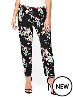 wallis-petite-oriental-print-piped-trouser-black
