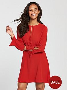 mango-cut-out-detail-dress-red