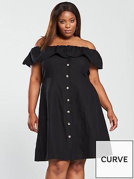 v-by-very-curve-linen-button-through-midi-dress