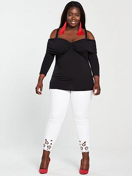 Very Curve by Top Black Shoulder nbsp Front  V Knot Cold For Sale Free Shipping For Sale For Sale Newest Online Clearance Clearance Sale Footaction b6BtC6
