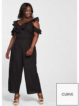 v-by-very-curve-eyelet-ruffle-sleeve-jumpsuit-black