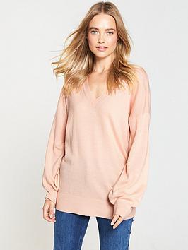 v-by-very-v-neck-blouson-sleeve-slouch-jumper-soft-pink