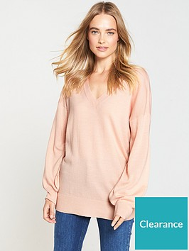 v-by-very-v-neck-blouson-sleeve-slouch-jumper-soft-pink