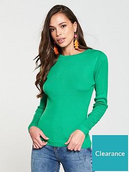 v-by-very-skinny-rib-crew-neck-jumper-green