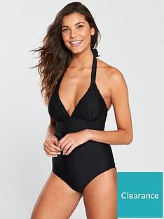 75d4828355 V by Very Crochet Trim Swimsuit - Black